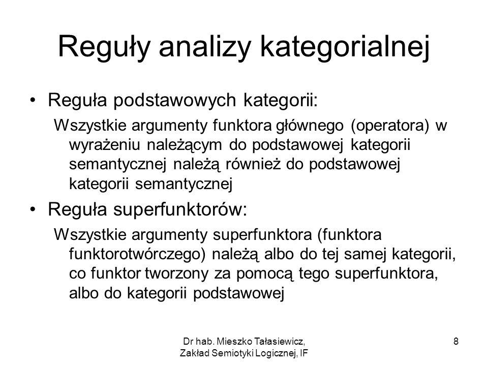 Reguły analizy kategorialnej