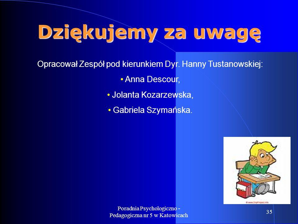 Dziękujemy za uwagę Opracował Zespół pod kierunkiem Dyr. Hanny Tustanowskiej: Anna Descour, Jolanta Kozarzewska,