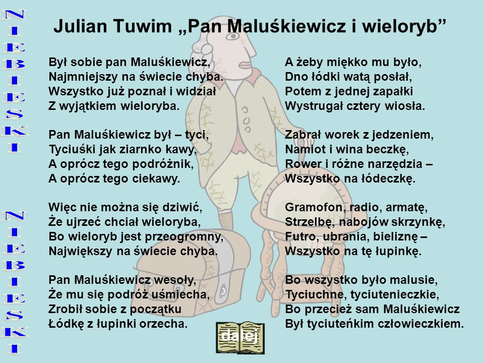"Julian Tuwim ""Pan Maluśkiewicz i wieloryb"