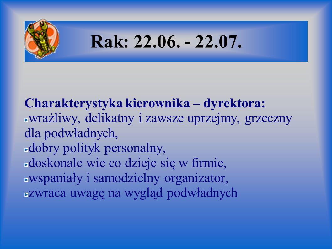 Rak: 22.06. - 22.07. Charakterystyka kierownika – dyrektora: