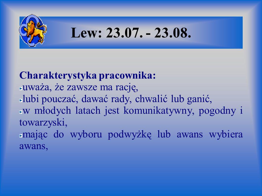 Lew: 23.07. - 23.08. Charakterystyka pracownika:
