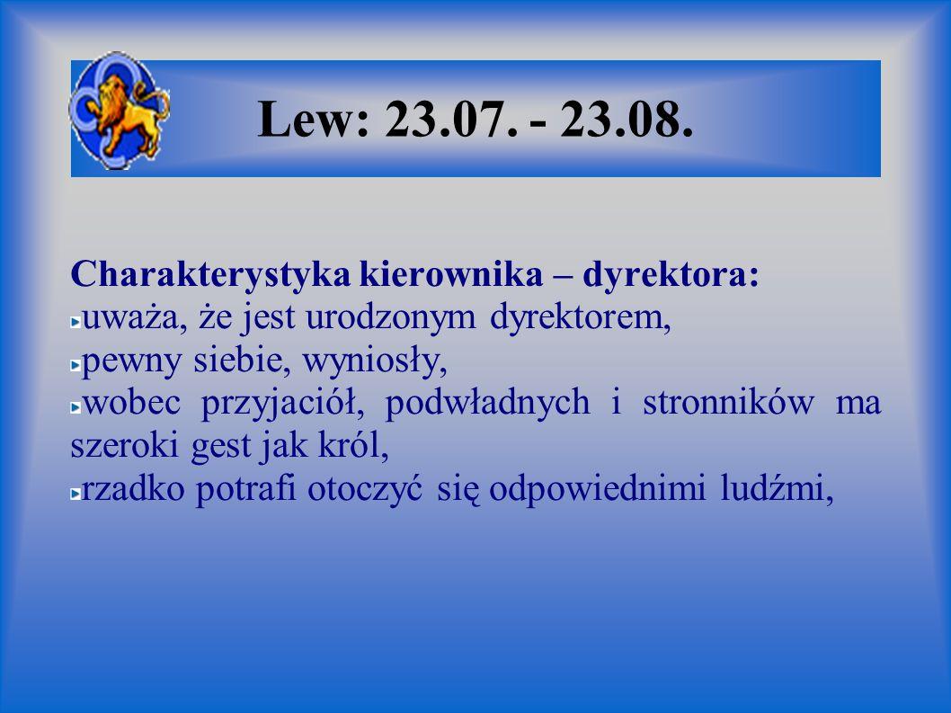 Lew: 23.07. - 23.08. Charakterystyka kierownika – dyrektora: