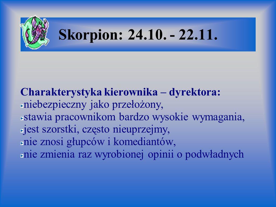 Skorpion: 24.10. - 22.11. Charakterystyka kierownika – dyrektora: