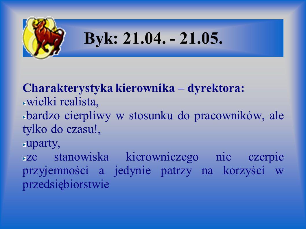 Byk: 21.04. - 21.05. Charakterystyka kierownika – dyrektora: