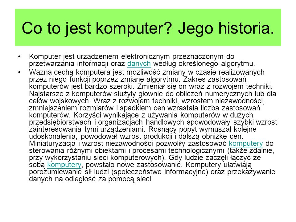 Co to jest komputer Jego historia.