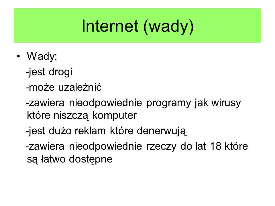Internet (wady) Wady: -jest drogi -może uzależnić