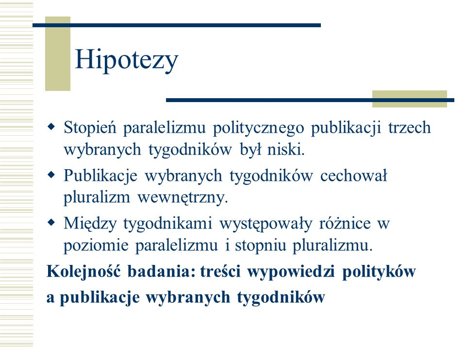 Hipotezy Stopień paralelizmu politycznego publikacji trzech wybranych tygodników był niski.