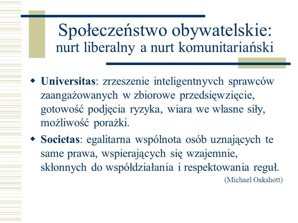 Społeczeństwo obywatelskie: nurt liberalny a nurt komunitariański