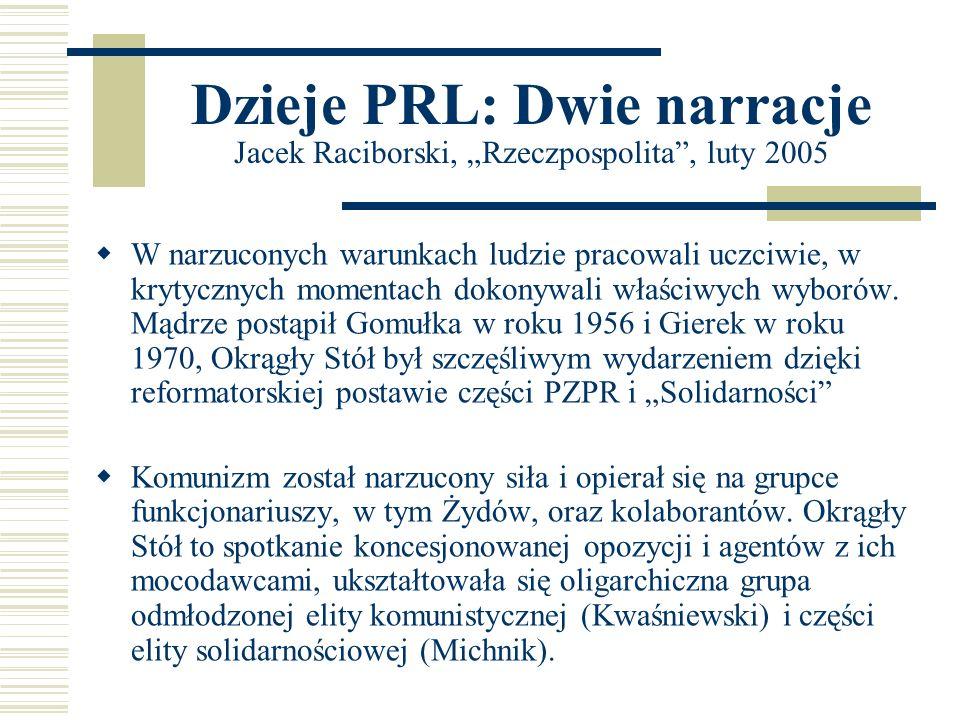 """Dzieje PRL: Dwie narracje Jacek Raciborski, """"Rzeczpospolita , luty 2005"""