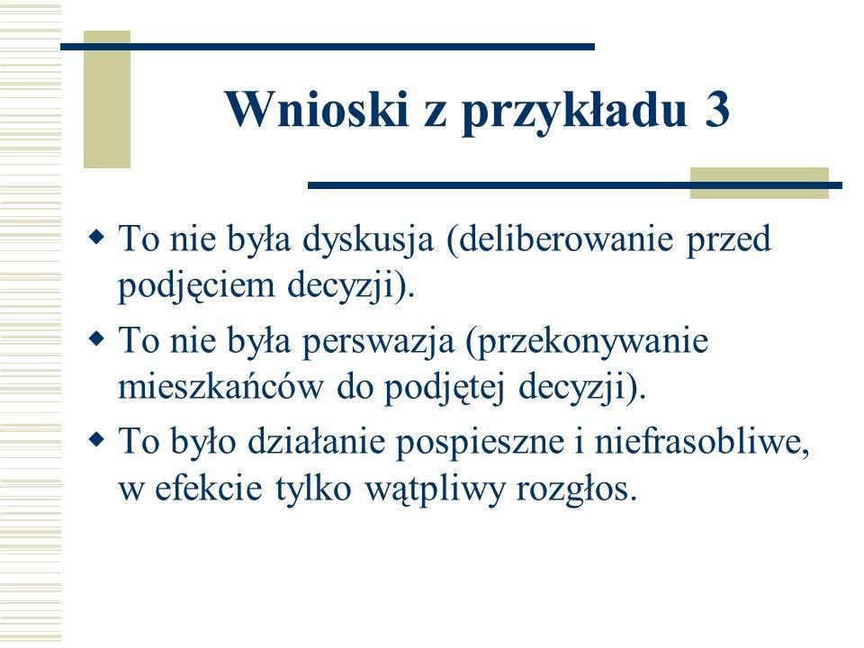 Wnioski z przykładu 3 To nie była dyskusja (deliberowanie przed podjęciem decyzji).