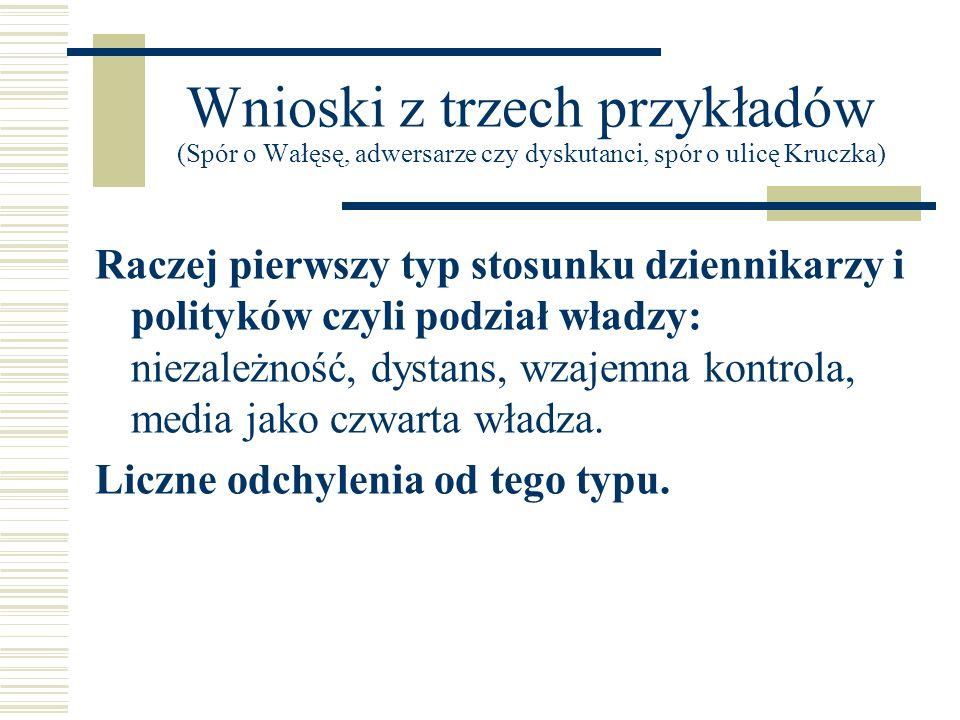 Wnioski z trzech przykładów (Spór o Wałęsę, adwersarze czy dyskutanci, spór o ulicę Kruczka)