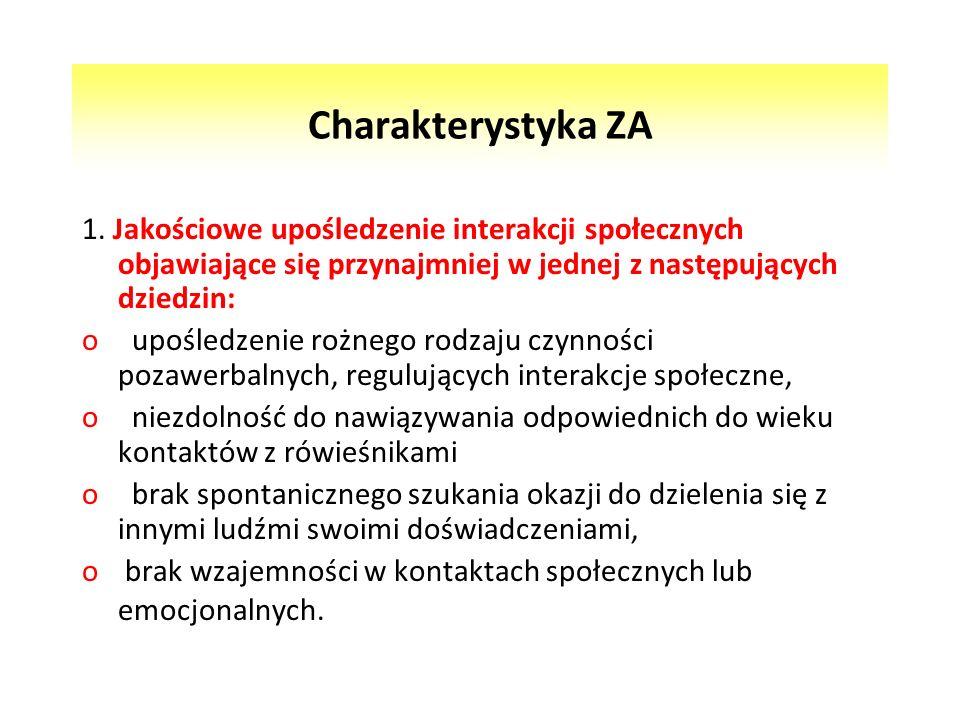 Charakterystyka ZA 1. Jakościowe upośledzenie interakcji społecznych objawiające się przynajmniej w jednej z następujących dziedzin: