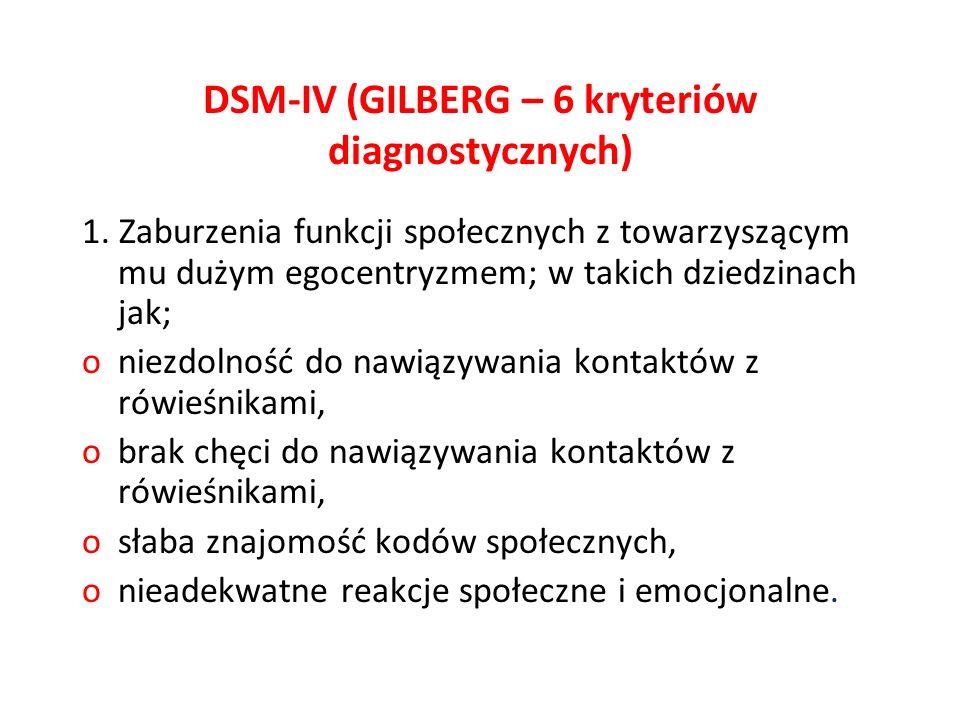 DSM-IV (GILBERG – 6 kryteriów diagnostycznych)