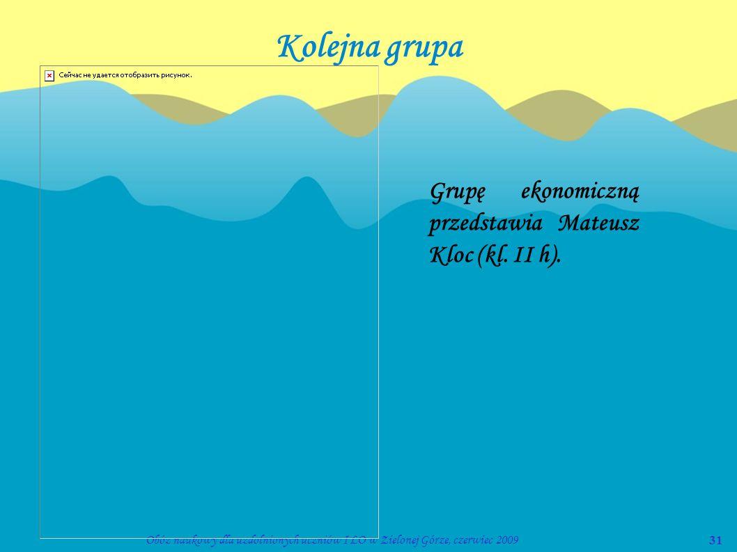 Kolejna grupa Grupę ekonomiczną przedstawia Mateusz Kloc (kl. II h).