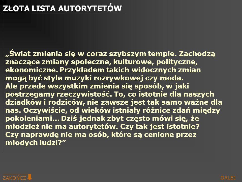 ZŁOTA LISTA AUTORYTETÓW