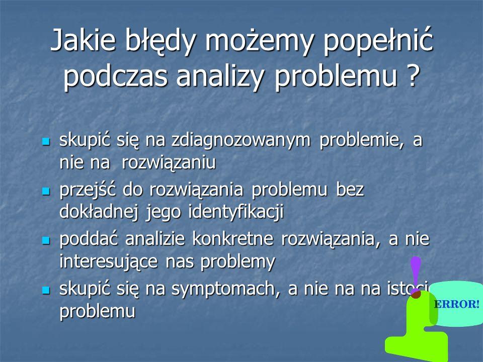 Jakie błędy możemy popełnić podczas analizy problemu