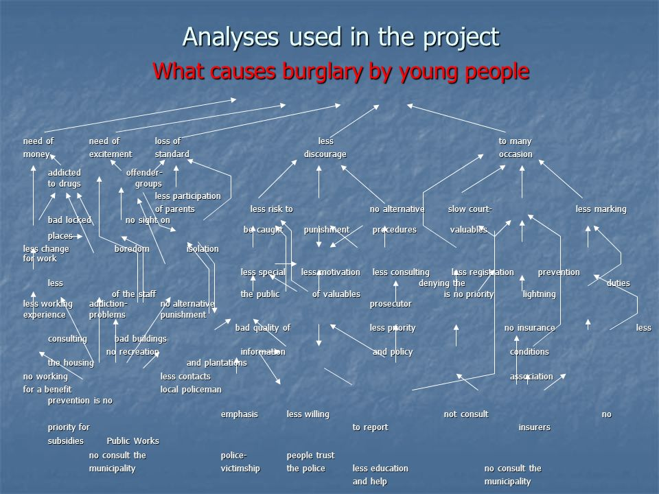 Analyses used in the project What causes burglary by young people