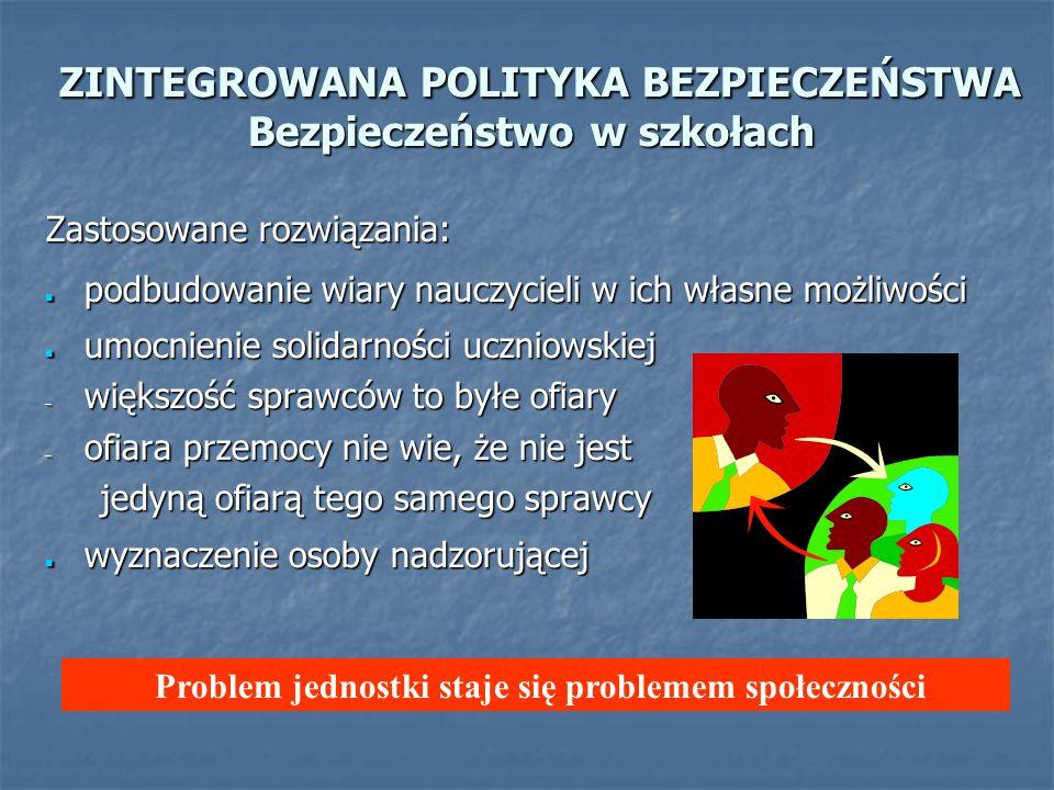 ZINTEGROWANA POLITYKA BEZPIECZEŃSTWA Bezpieczeństwo w szkołach