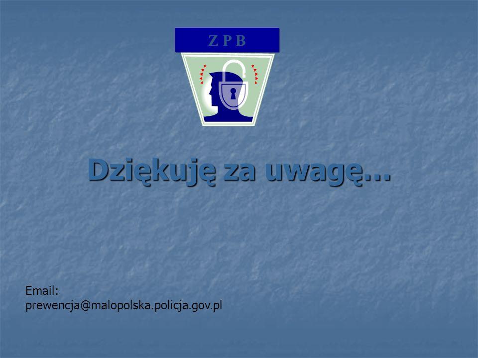 Z P B Dziękuję za uwagę… Email: prewencja@malopolska.policja.gov.pl