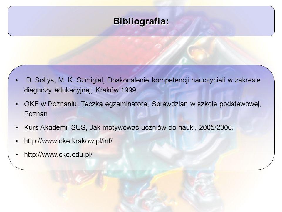 Bibliografia: D. Sołtys, M. K. Szmigiel, Doskonalenie kompetencji nauczycieli w zakresie diagnozy edukacyjnej, Kraków 1999.
