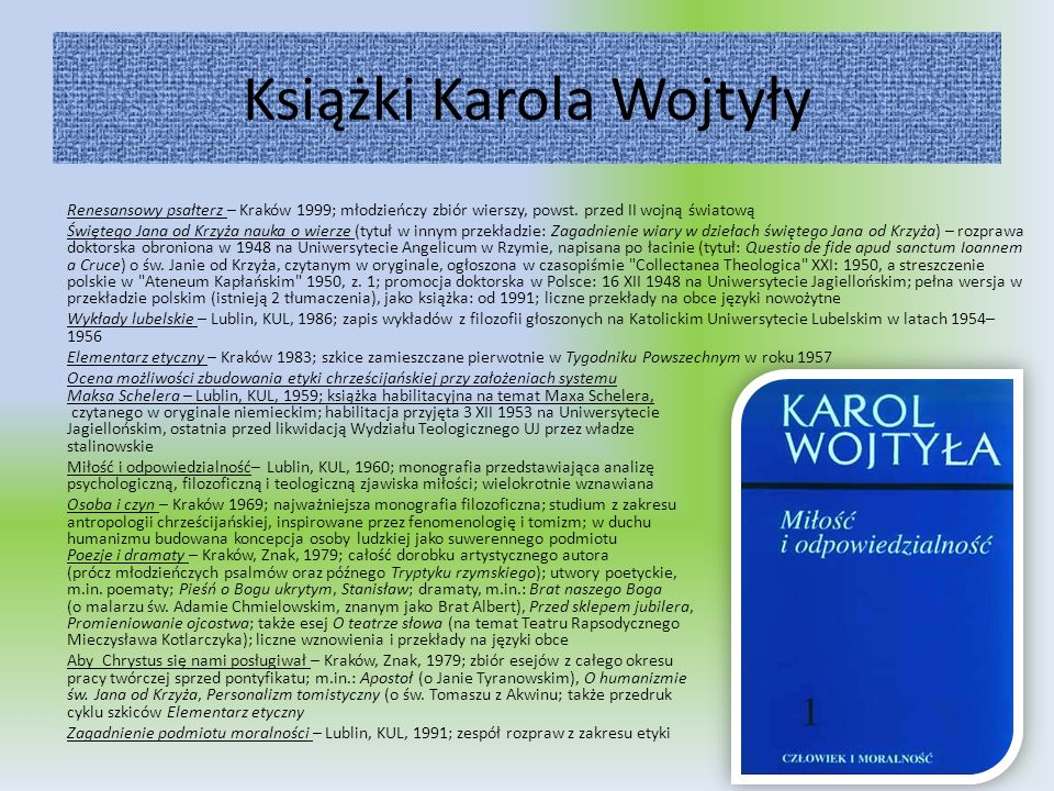 Książki Karola Wojtyły