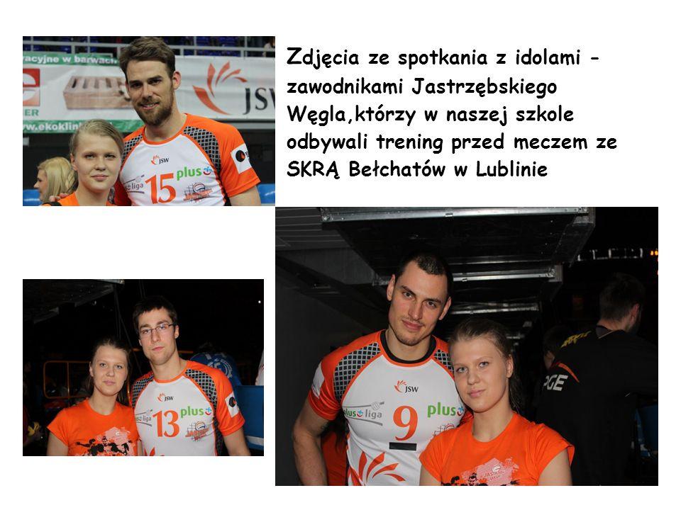 Zdjęcia ze spotkania z idolami -zawodnikami Jastrzębskiego Węgla,którzy w naszej szkole odbywali trening przed meczem ze SKRĄ Bełchatów w Lublinie