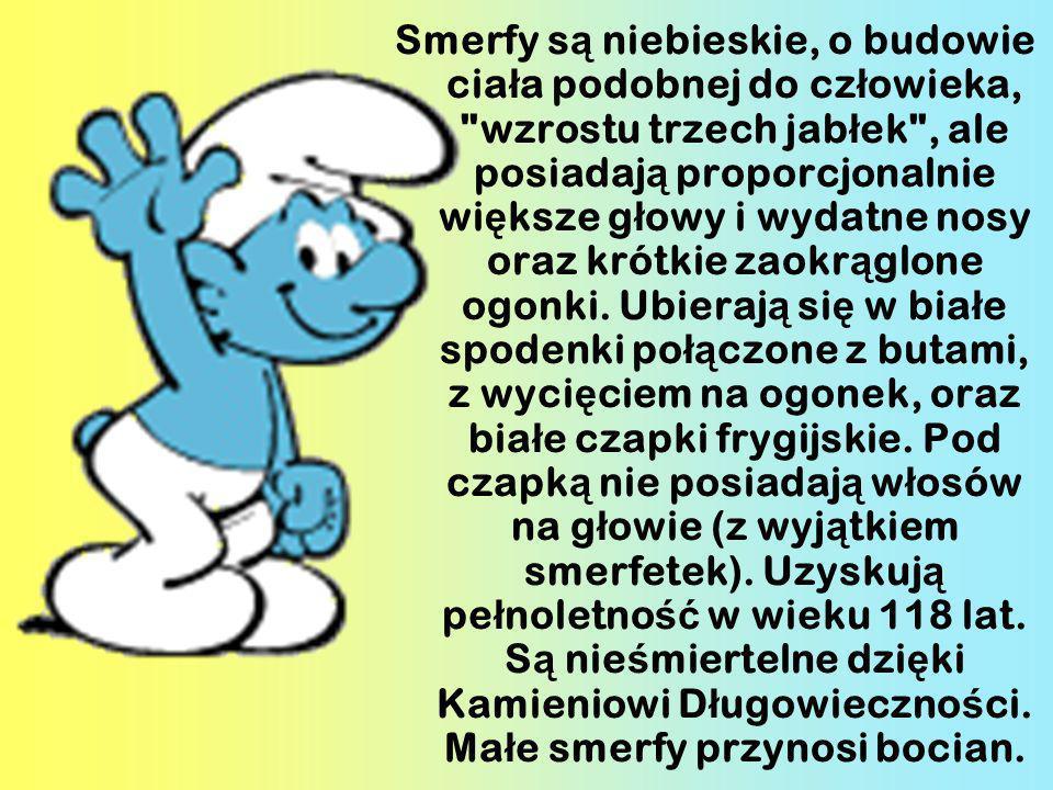 Smerfy są niebieskie, o budowie ciała podobnej do człowieka, wzrostu trzech jabłek , ale posiadają proporcjonalnie większe głowy i wydatne nosy oraz krótkie zaokrąglone ogonki.