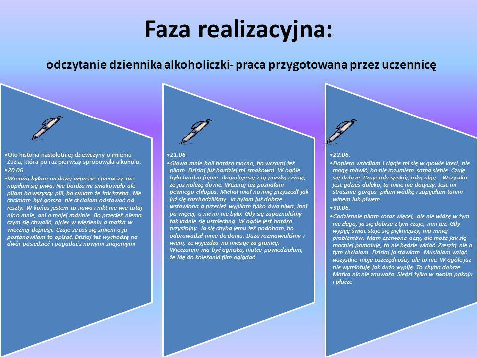 Faza realizacyjna: odczytanie dziennika alkoholiczki- praca przygotowana przez uczennicę
