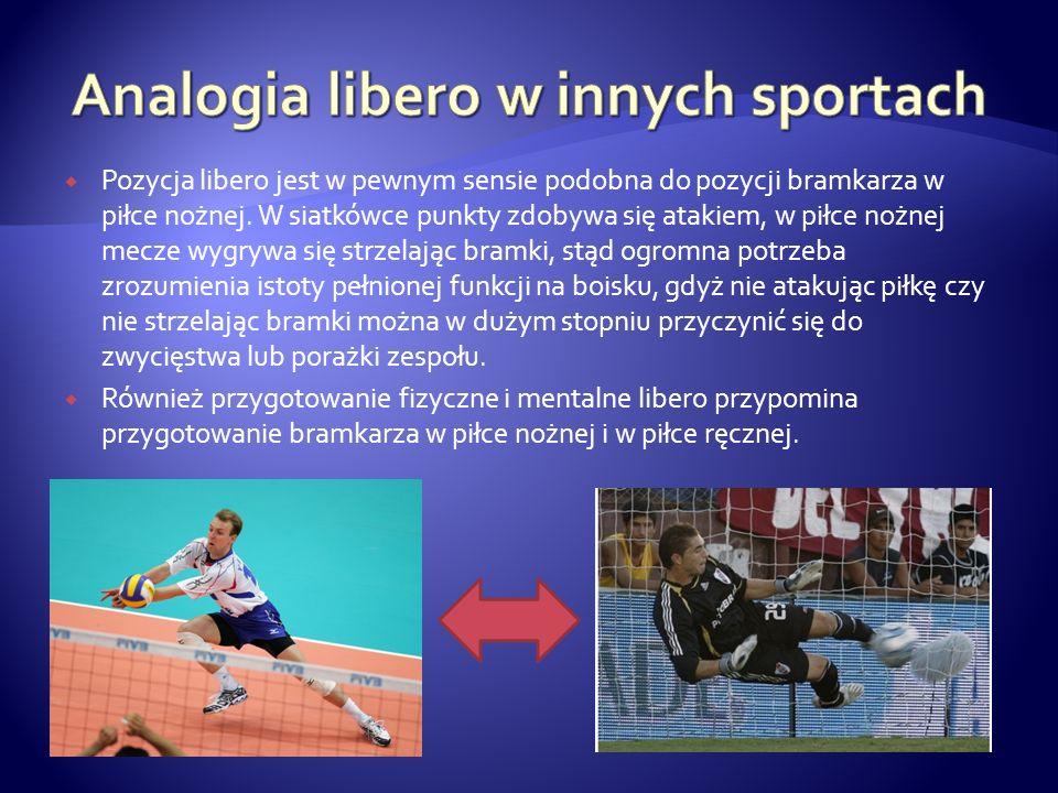 Analogia libero w innych sportach