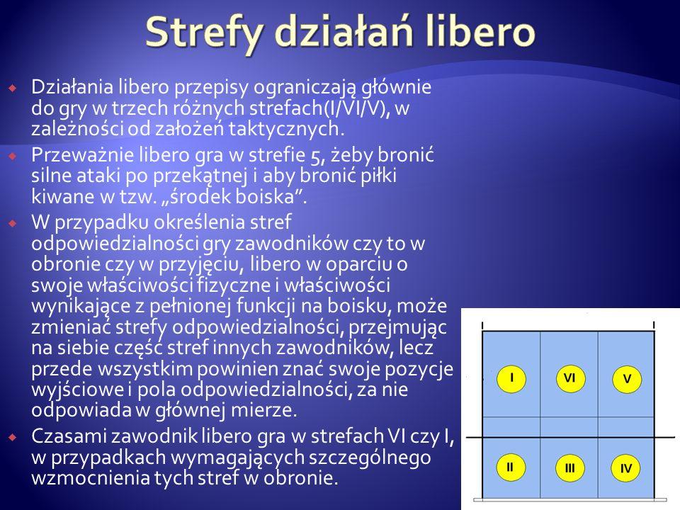 Strefy działań libero Działania libero przepisy ograniczają głównie do gry w trzech różnych strefach(I/VI/V), w zależności od założeń taktycznych.