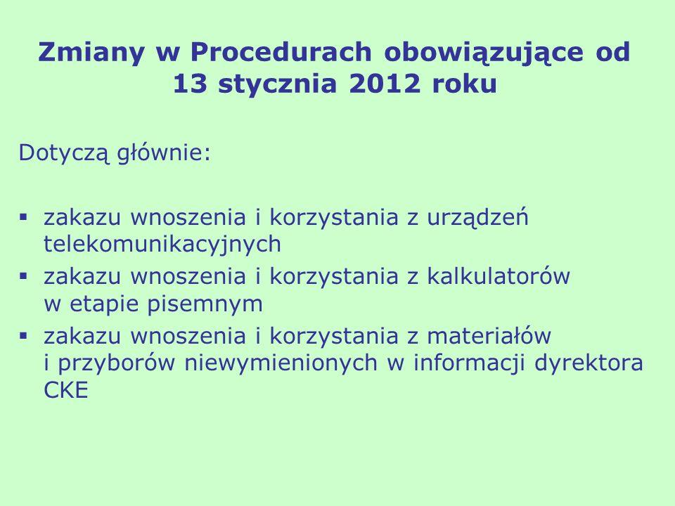 Zmiany w Procedurach obowiązujące od 13 stycznia 2012 roku