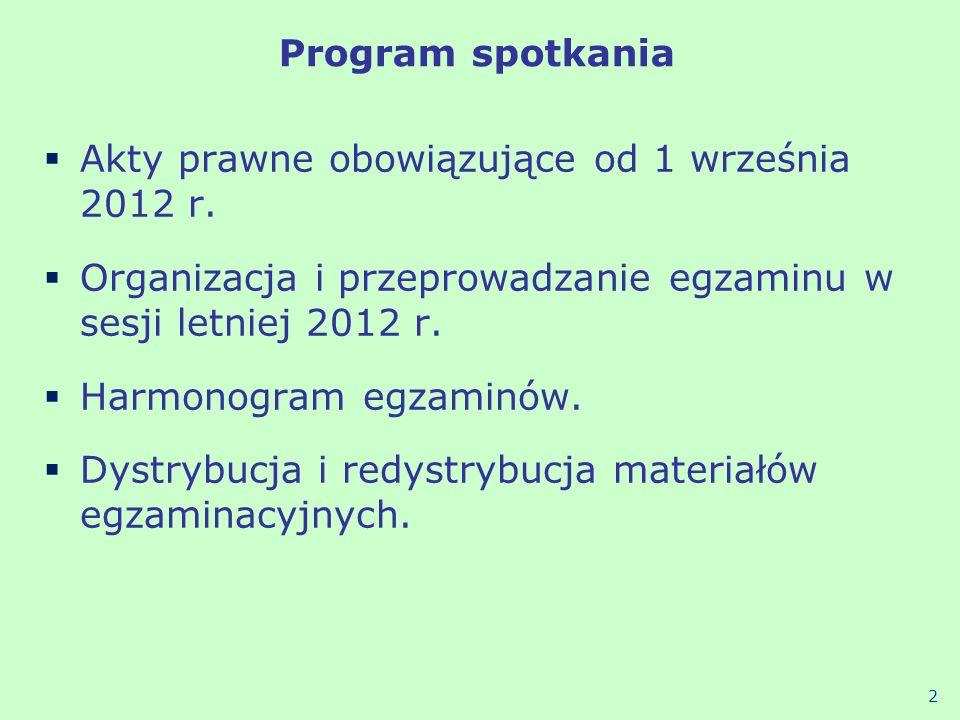 Akty prawne obowiązujące od 1 września 2012 r.