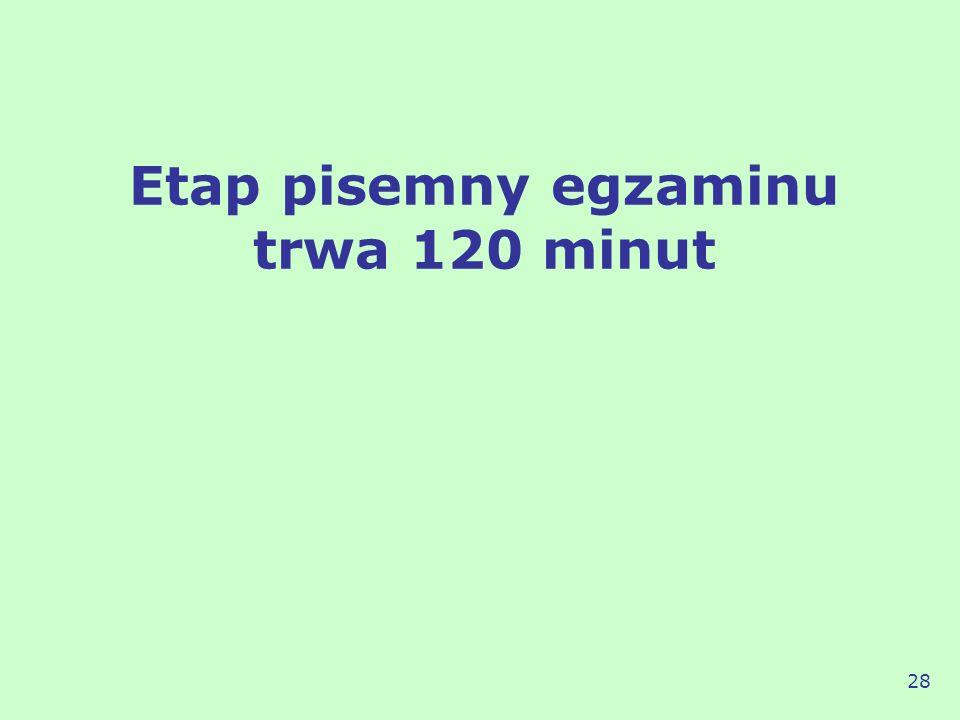 Etap pisemny egzaminu trwa 120 minut