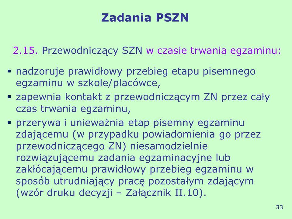 Zadania PSZN 2.15. Przewodniczący SZN w czasie trwania egzaminu: