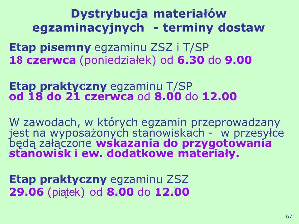 Dystrybucja materiałów egzaminacyjnych - terminy dostaw