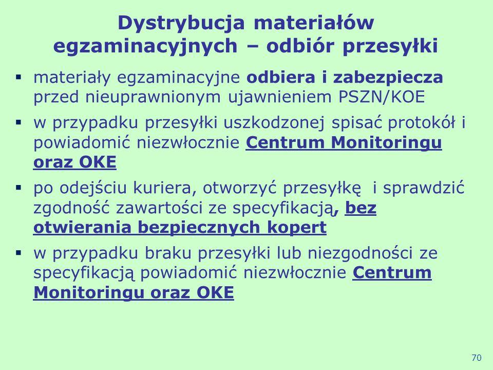Dystrybucja materiałów egzaminacyjnych – odbiór przesyłki