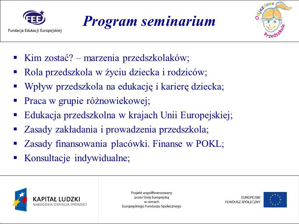 Rok przedszkolaka Program seminarium