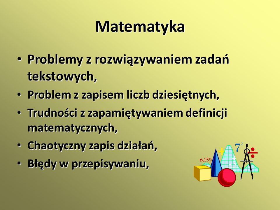 Matematyka Problemy z rozwiązywaniem zadań tekstowych,
