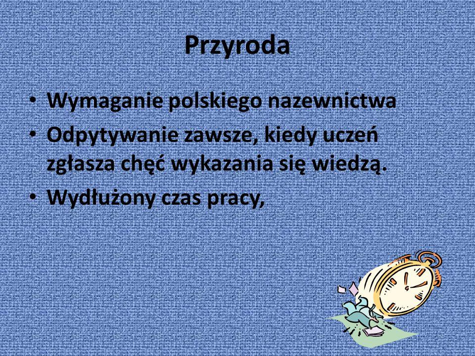 Przyroda Wymaganie polskiego nazewnictwa