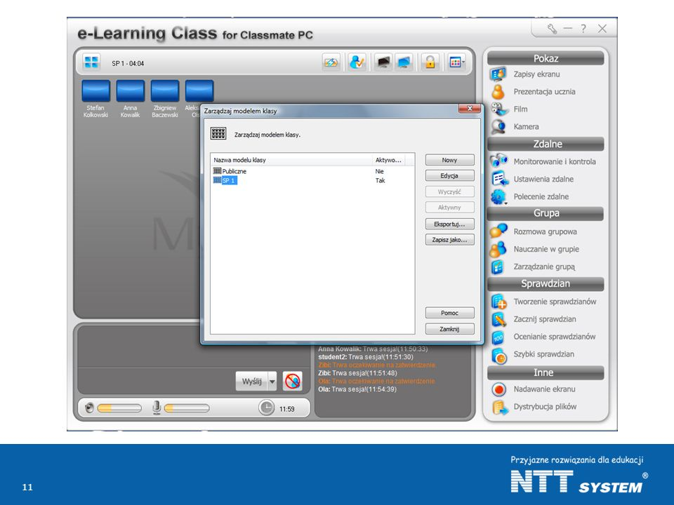 Nauczyciel może wykorzystywać swój komputer do prowadzenia zajęć z wieloma klasami wykorzystując przygotowane przez siebie lub innych nauczycieli materiały dydaktyczne.