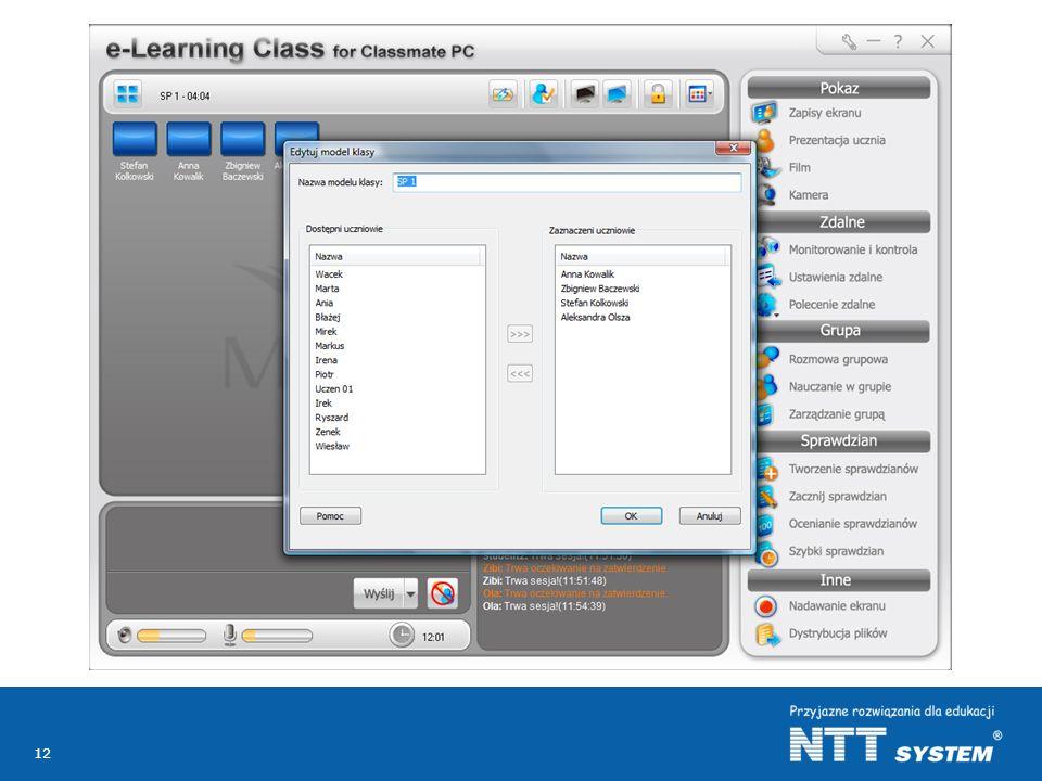 Może również dodawać lub odejmować poszczególnych uczniów z danego modelu klasy.