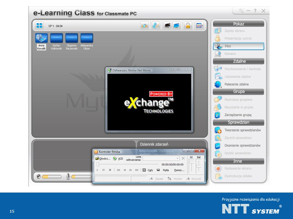 Pokazanie filmu, jego indywidualne oglądanie przez wszystkich uczniów lub przez wybranych przez nauczyciela jest kolejną funkcjonalnością (funkcją) dostępną poprzez oprogramowanie nauczycielskie.