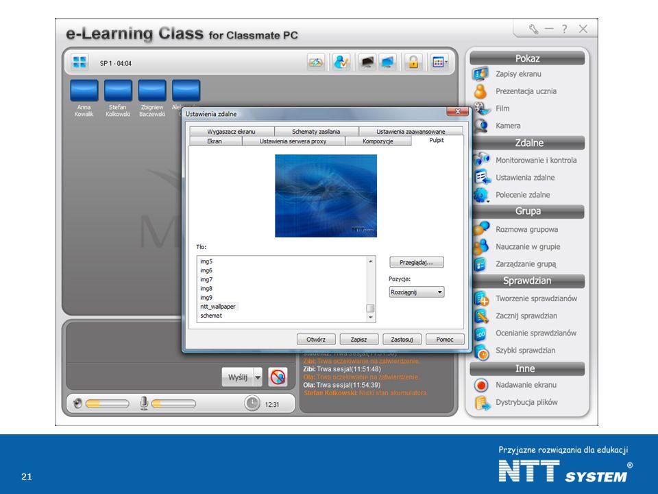 Z jednego miejsca tj. z komputera nauczycielskiego można zdalnie zmieniać ustawienia komputerów uczniowskich oraz instalować oprogramowanie lub przesyłać multimedialne treści edukacyjne.