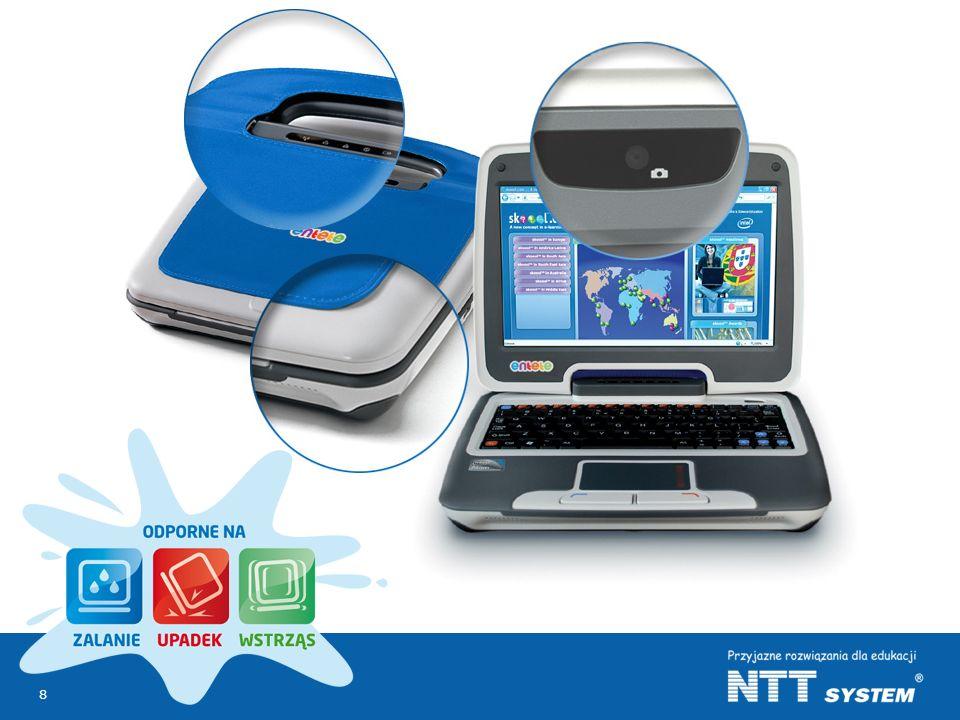 Pokazany na slajdzie edukacyjny netbook ENTETE oparty jest na technologii classmatePC firmy Intel.