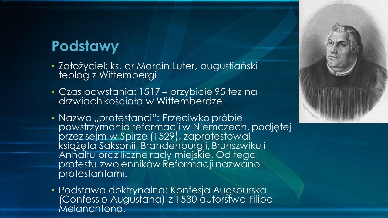 Podstawy Założyciel: ks. dr Marcin Luter, augustiański teolog z Wittembergi.