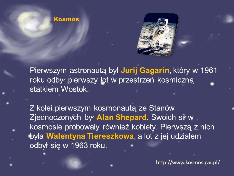 Kosmos Pierwszym astronautą był Jurij Gagarin, który w 1961 roku odbył pierwszy lot w przestrzeń kosmiczną statkiem Wostok.