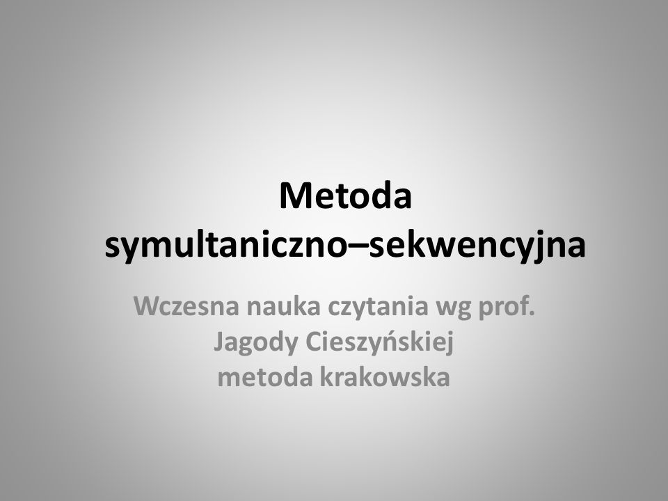 Metoda symultaniczno–sekwencyjna