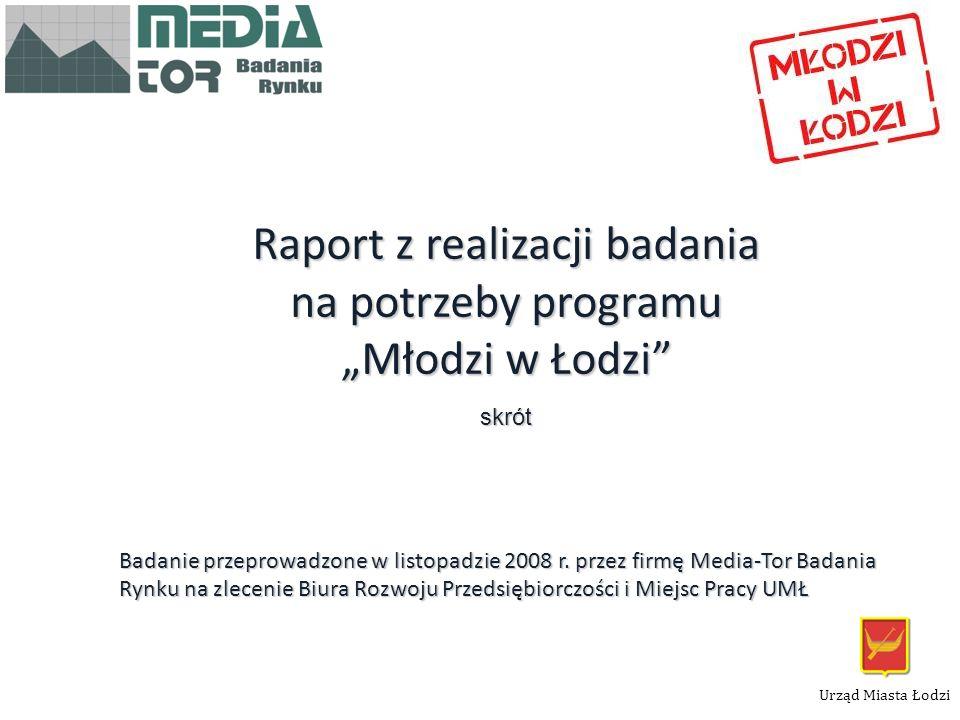 """Raport z realizacji badania na potrzeby programu """"Młodzi w Łodzi"""