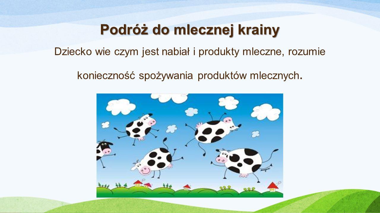 Podróż do mlecznej krainy Dziecko wie czym jest nabiał i produkty mleczne, rozumie konieczność spożywania produktów mlecznych.
