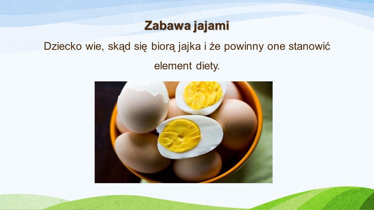Zabawa jajami Dziecko wie, skąd się biorą jajka i że powinny one stanowić element diety.
